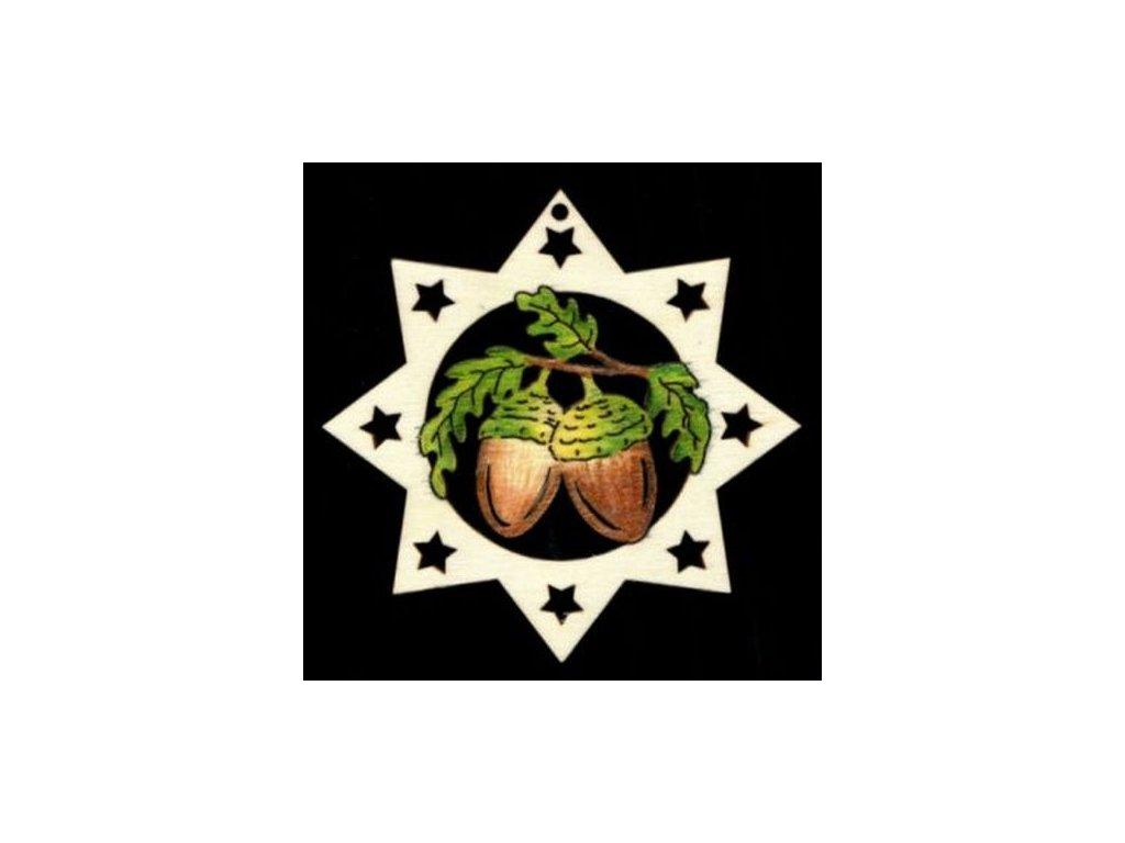 Dřevěná ozdoba barevná hvězda se žaludy 9 cm