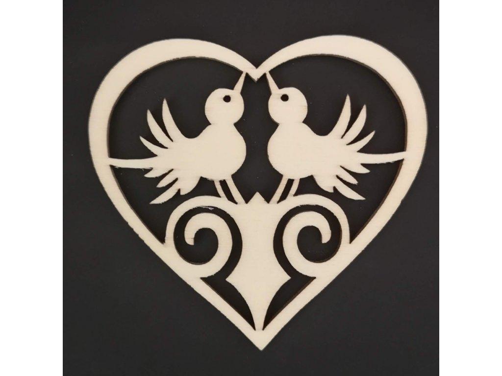 Dřevěná ozdoba srdce s ptáčky 8 cm