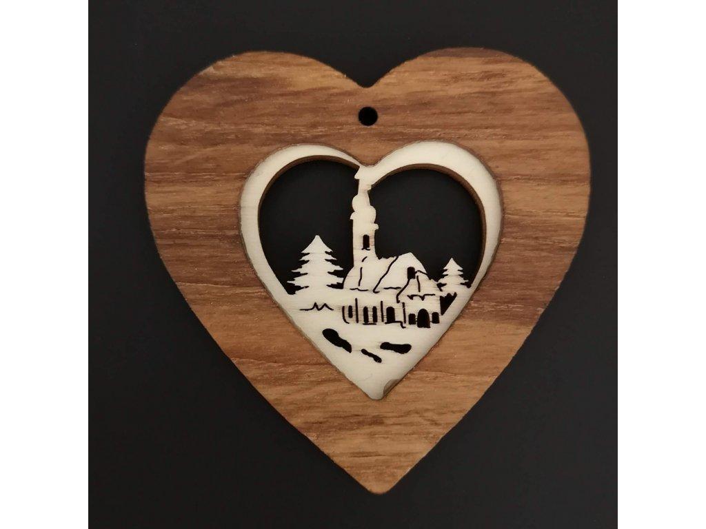 Dřevěná ozdoba z masivu s vkladem - srdce s kostelem 7 cm