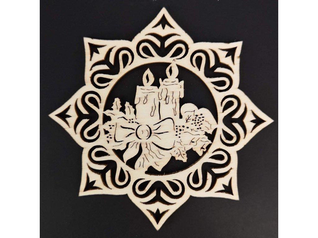 Dřevěná ozdoba hvězda se svíčkami 9 cm