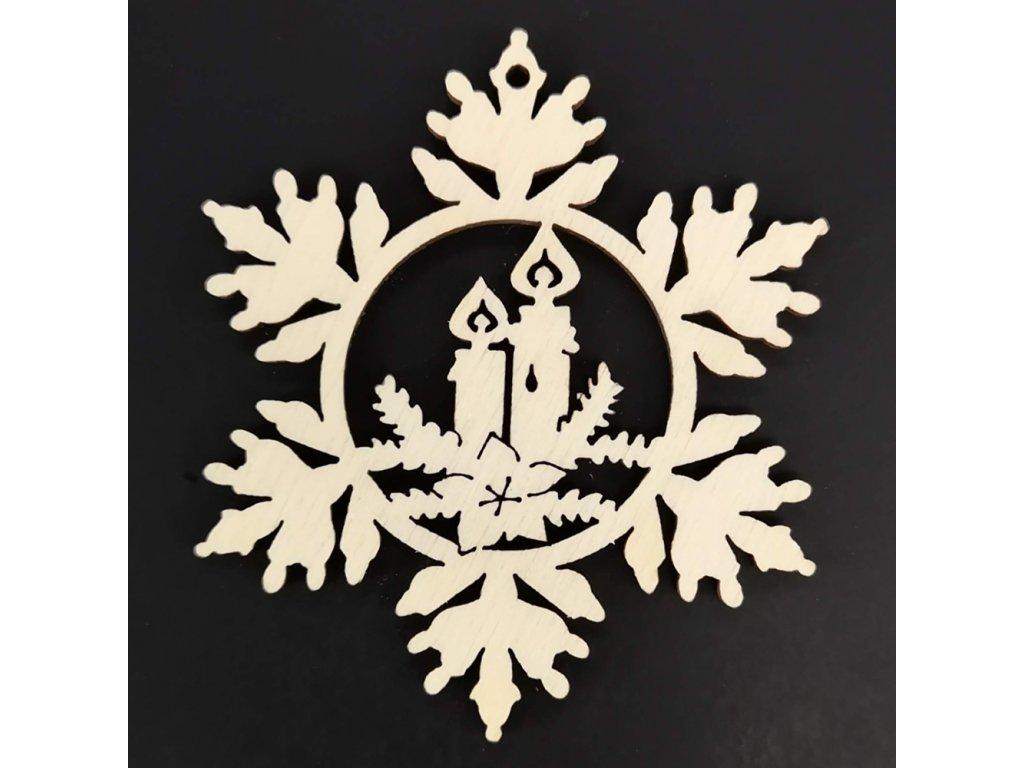 Dřevěná ozdoba vločka se svíčkami 6 cm