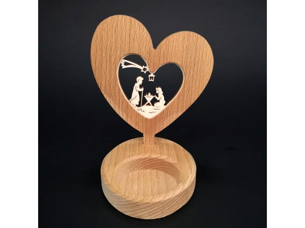 Dřevěný svícen - srdce s betlémem