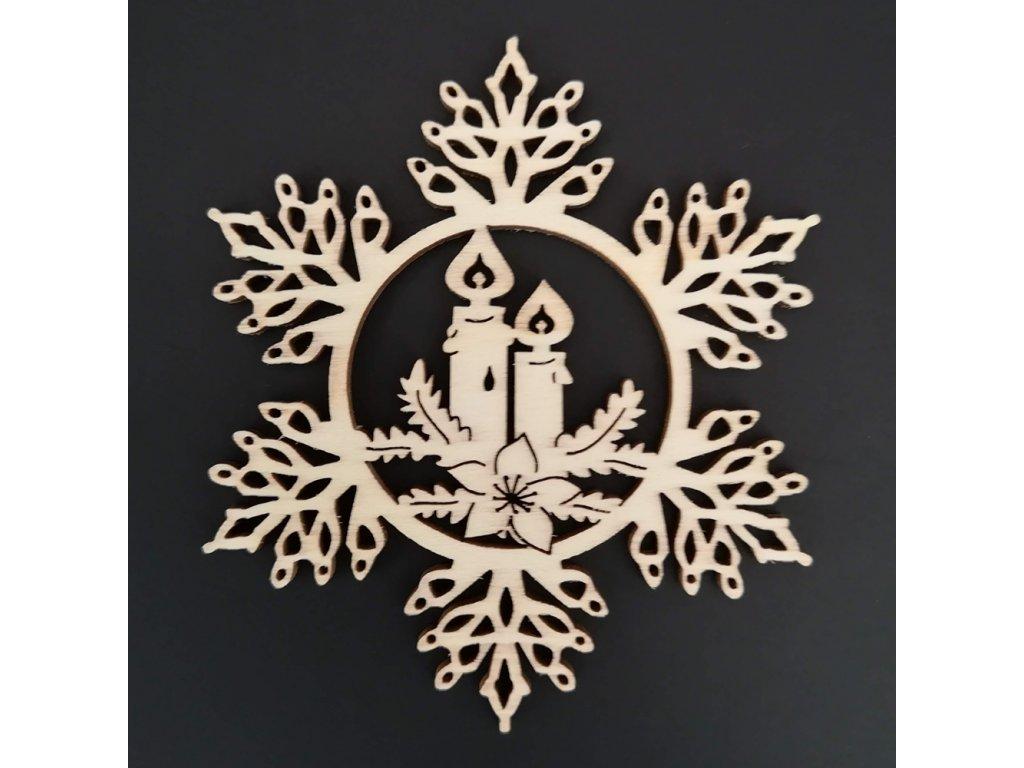 Dřevěná ozdoba vločka se svíčkami 9 cm