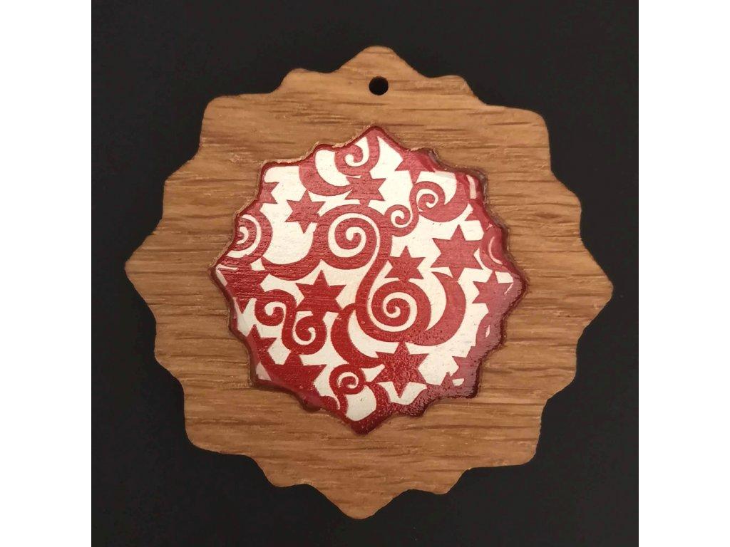 Dřevěná ozdoba z masivu s barevným vkladem - vločka s ornamentem 8 cm