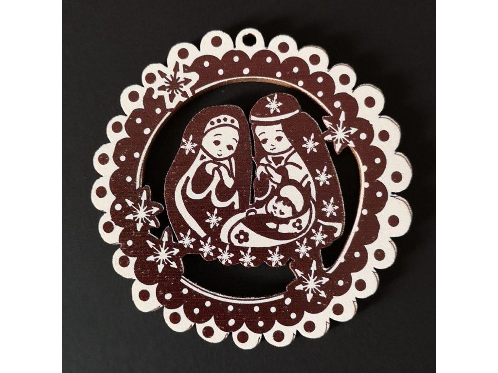 Dřevěná ozdoba perníček tmavý - betlém 6 cm