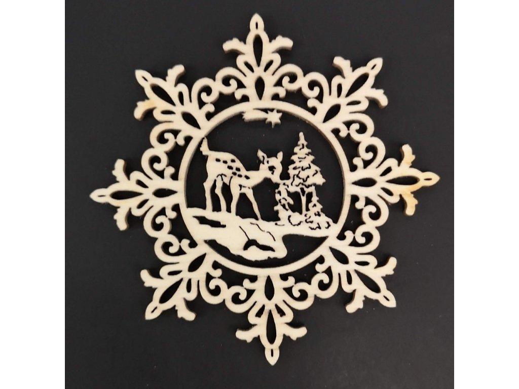 Dřevěna ozdoba vločka se srncem 6 cm