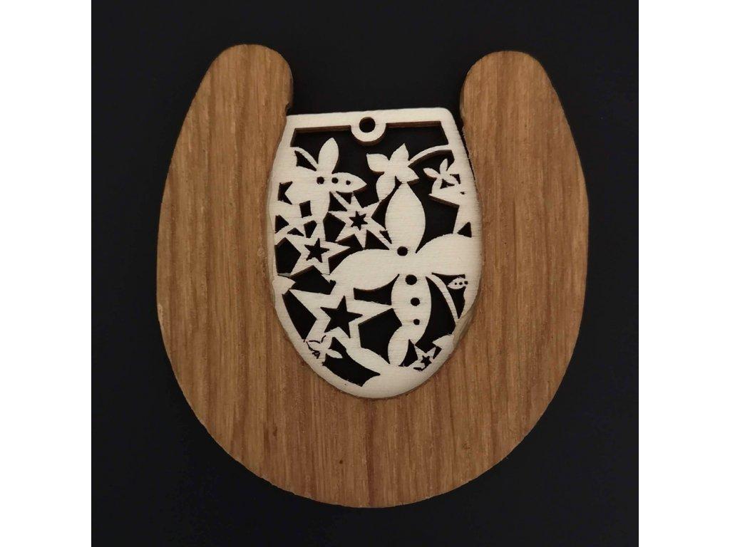 Dřevěná ozdoba z masivu s vkladem - podkova s ornamentem 8 cm