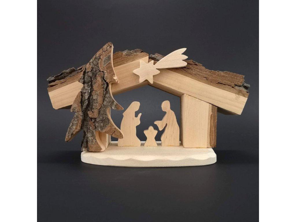Dřevěný betlém s kůrou, masivní dřevo, 24x13x9 cm