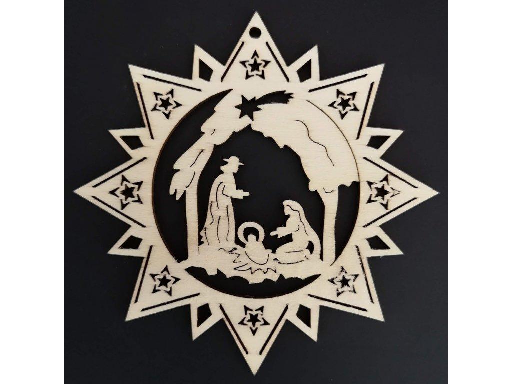 Dřevěná ozdoba hvězda s betlémem 9 cm