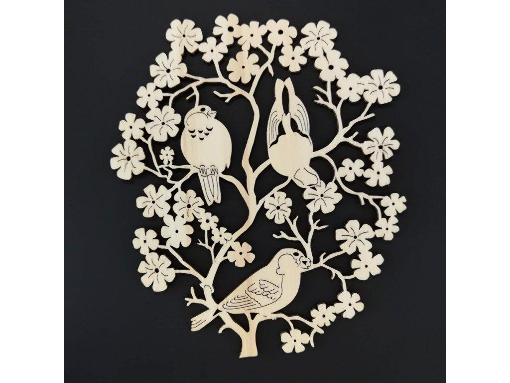 Dřevěná dekorace závěsná ptáčci k vymalování