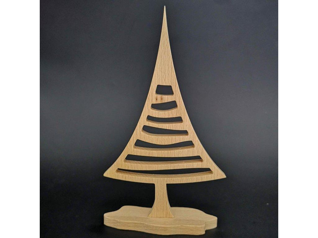 Dřevěný 3D strom jehličnan, masivní dřevo, výška 22 cm