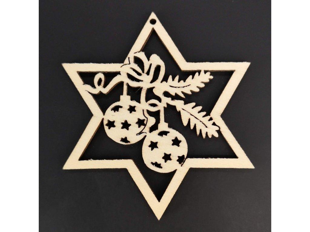 Dřevěná ozdoba hvězda s koulemi 6 cm