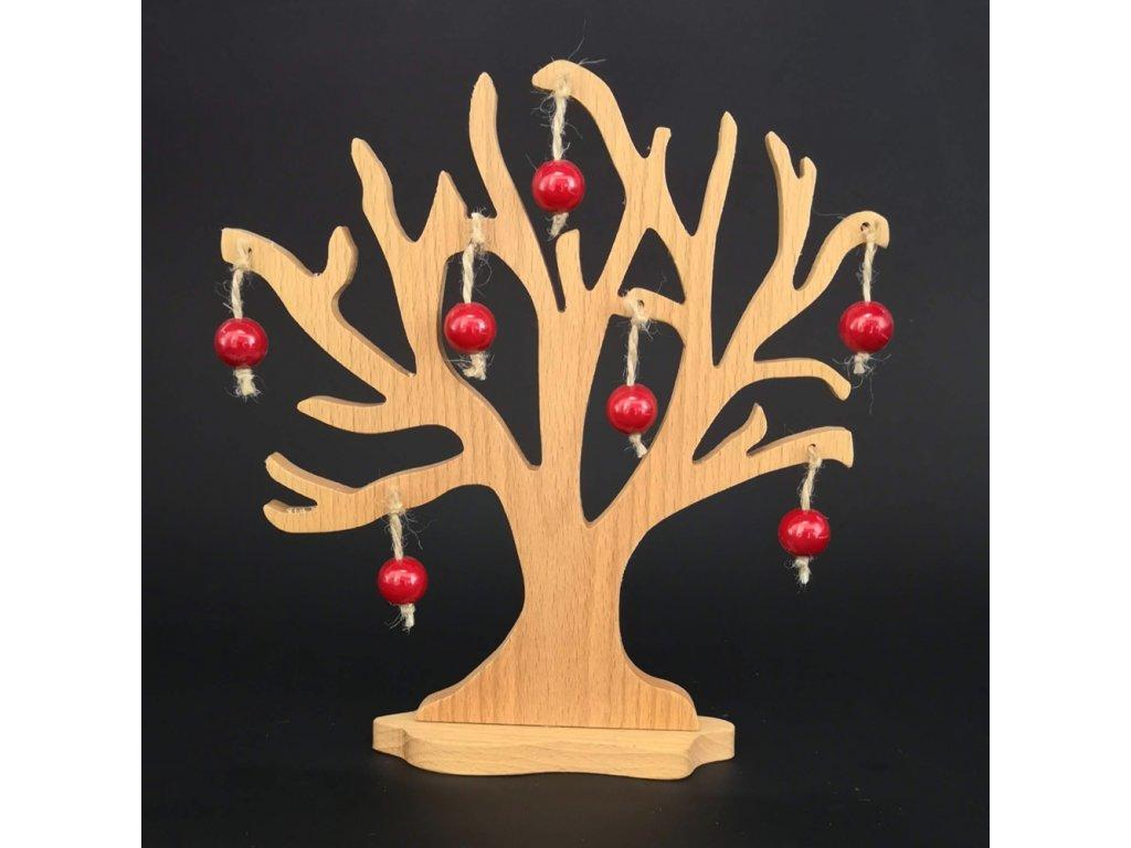 Dřevěný 3D strom s červenými jablky, masivní dřevo, výška 20 cm