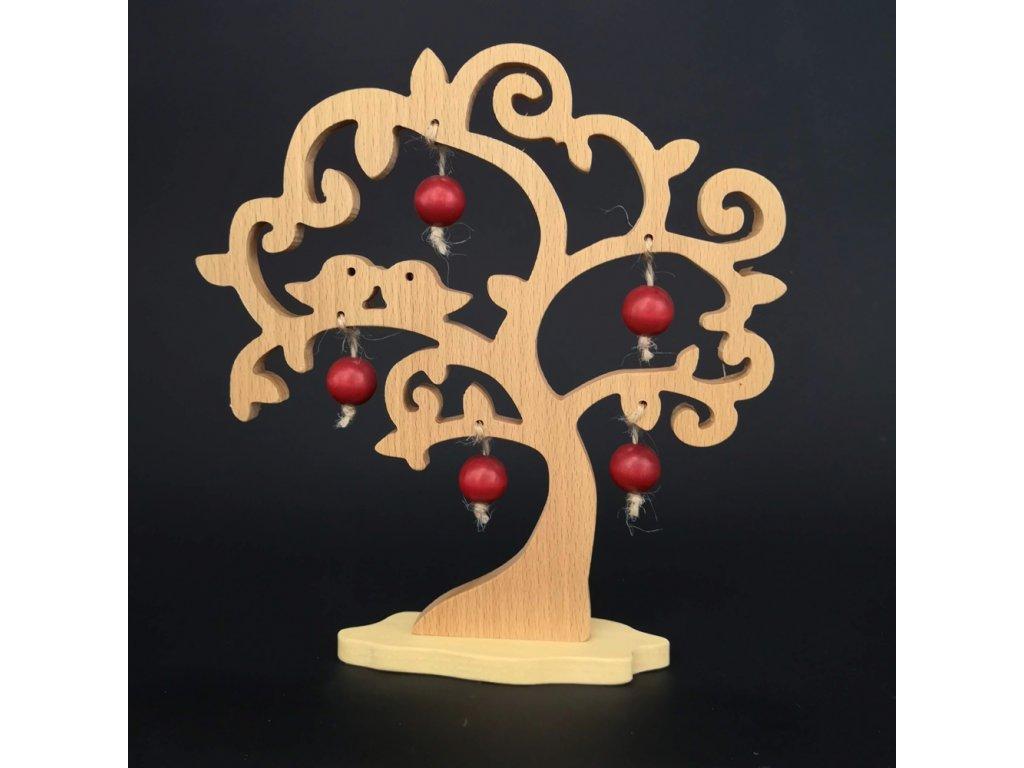 Dřevěný 3D strom s ptáčky a červenými jablky, masivní dřevo, výška 20 cm