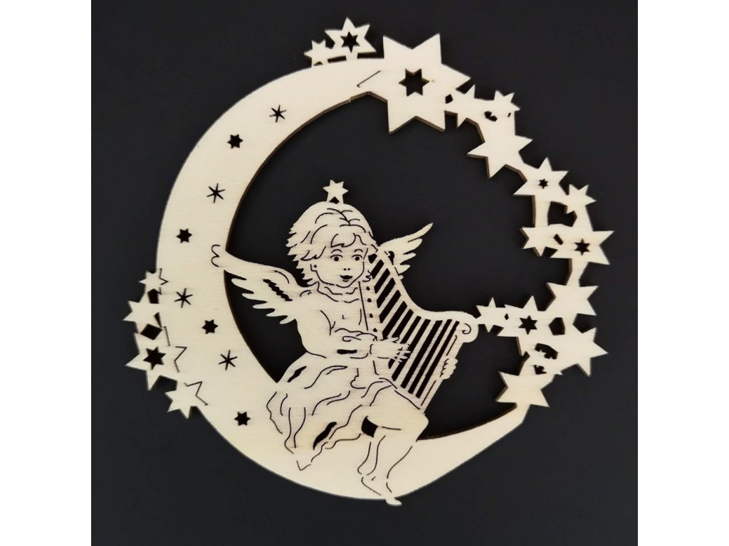 Dřevěná ozdoba anděl na měsíci s harfou 9 cm