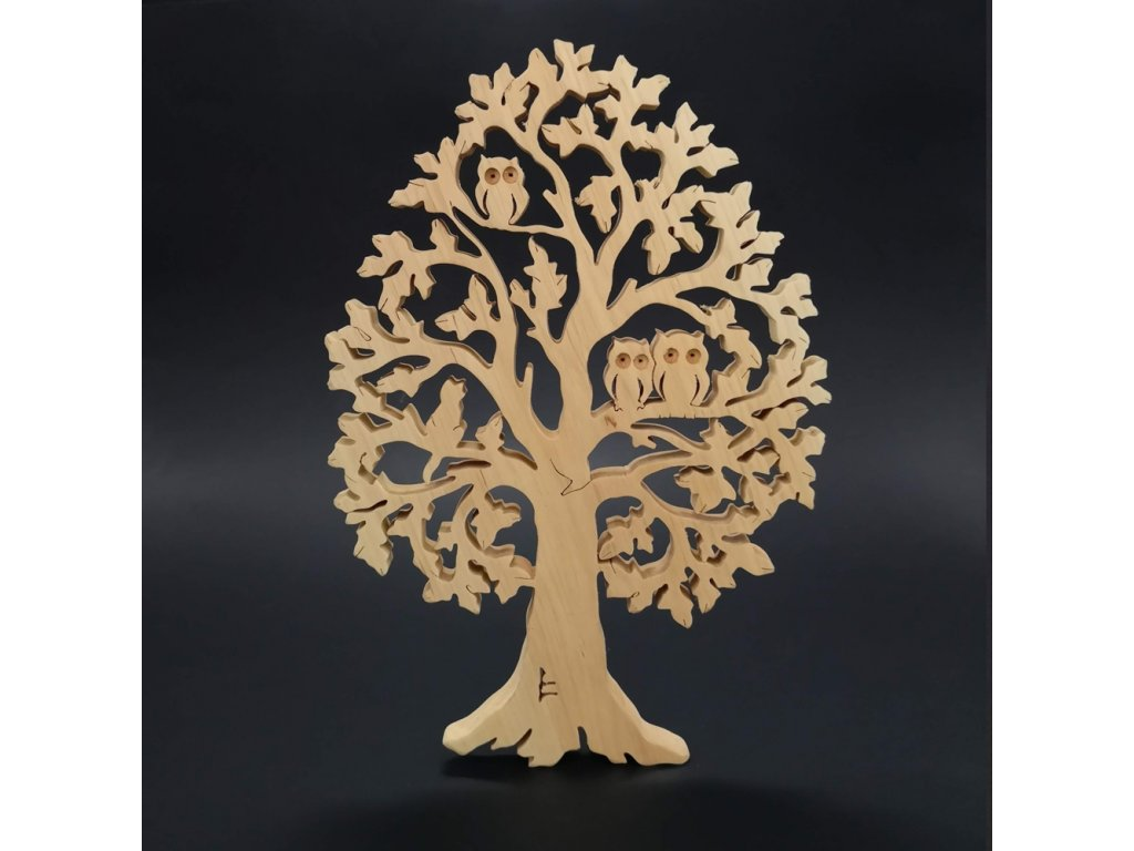 Dřevěný strom se sovami a kočkou, masivní dřevo, výška 28 cm