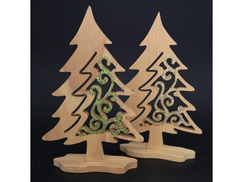 Dřevěný 3D strom jehličnan s prořezem a třpytkami - mix barev 21 cm