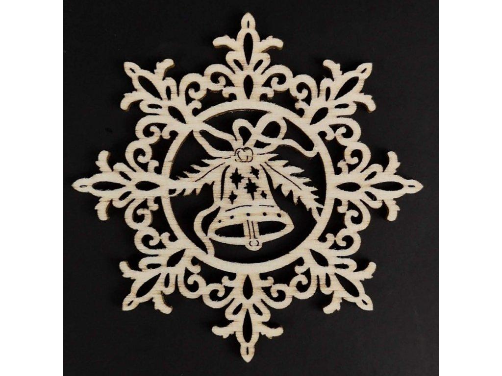 Dřevěná ozdoba vločka se zvonkem 6 cm