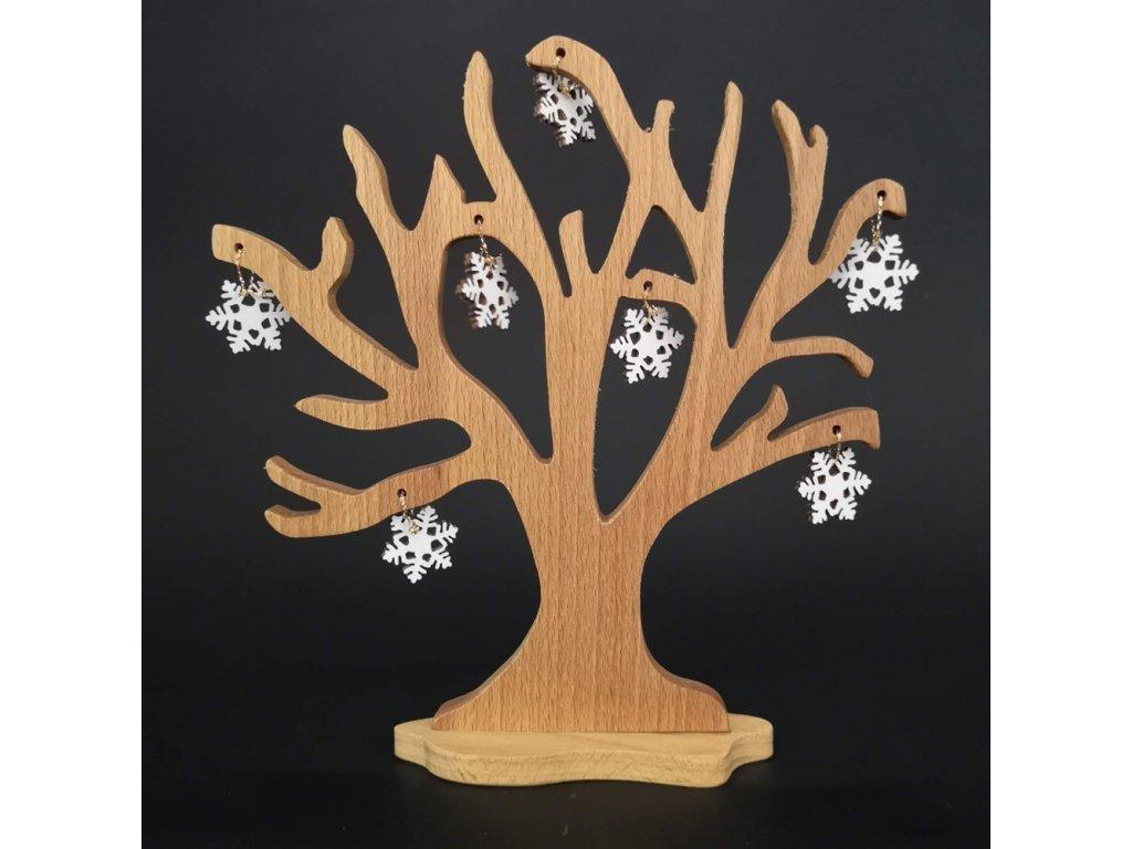 Dřevěný 3D strom s vločkami, masivní dřevo, výška 20 cm
