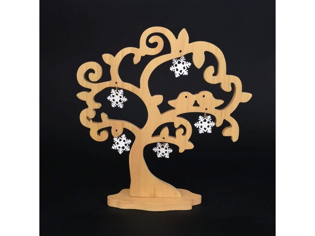 Dřevěný 3D strom s ptáčky a vločkami, masivní dřevo, výška 20 cm