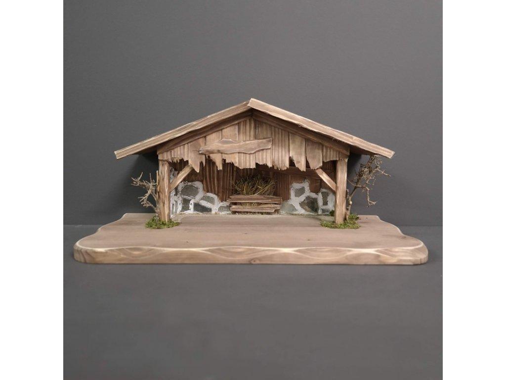 Dřevěný betlém šedohnědý (bez figurek) 45 cm