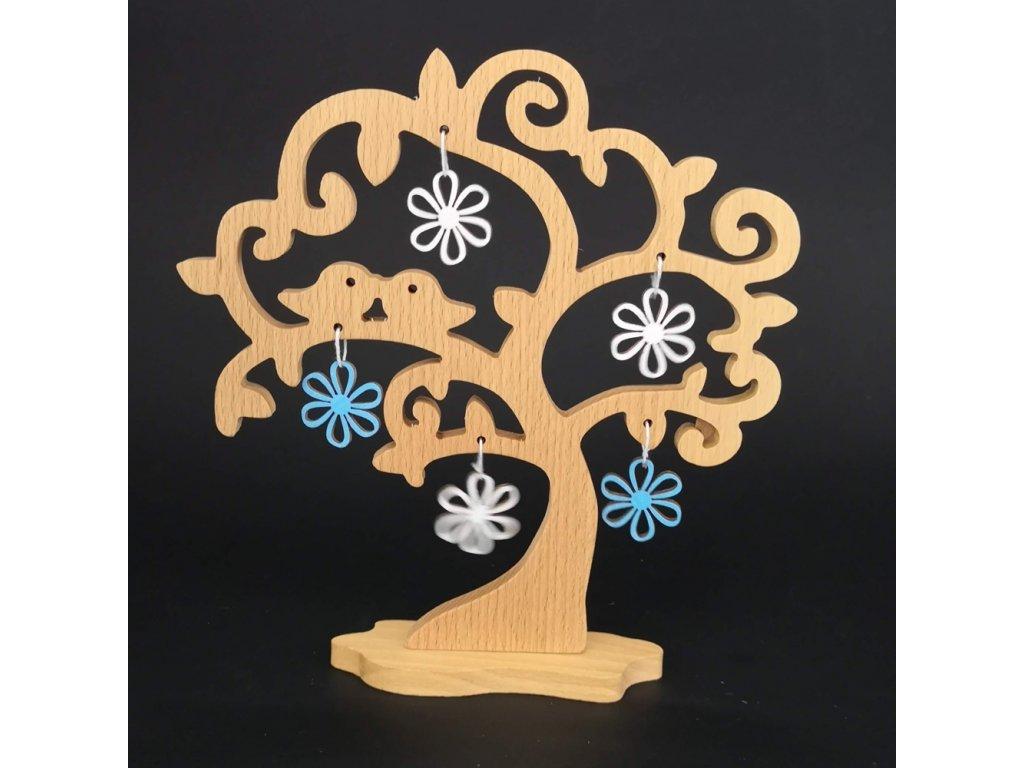 Dřevěný 3D strom s ptáčky a barevnými květy, masivní dřevo, výška 20 cm