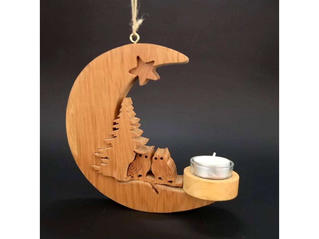 Dřevěný svícen na zavěšení ve tvaru měsíce se sovami , masivní dřevo, 20x18x2 cm