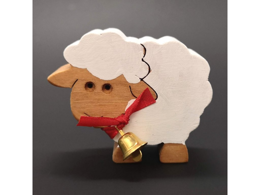 Dřevěná ovečka bílá se zvonkem, masivní dřevo, 6x5x2 cm