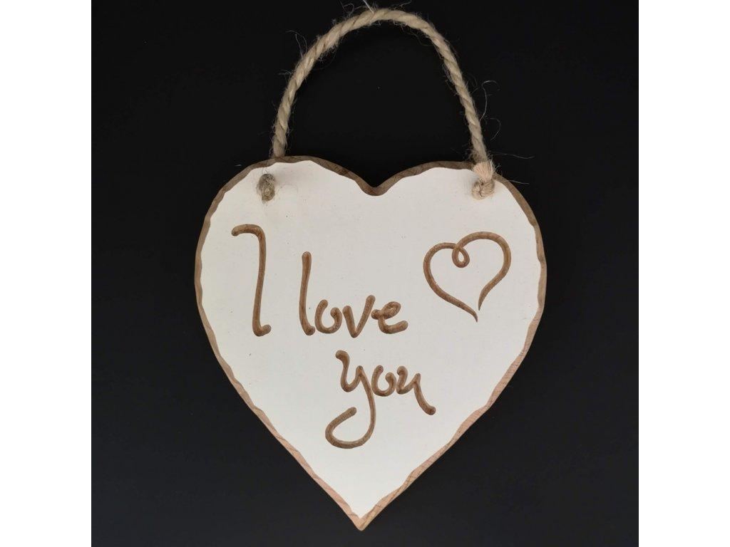 Dřevěné srdce s rytým textem - I love you