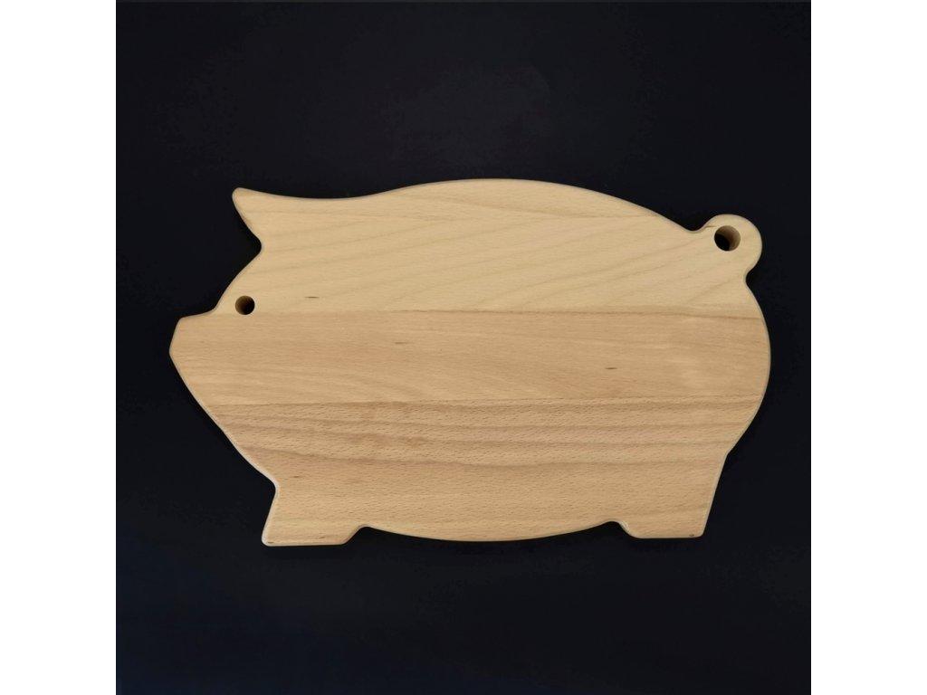 Dřevěné prkénko servírovací ve tvaru prasete, masivní dřevo, 36x22x2 cm