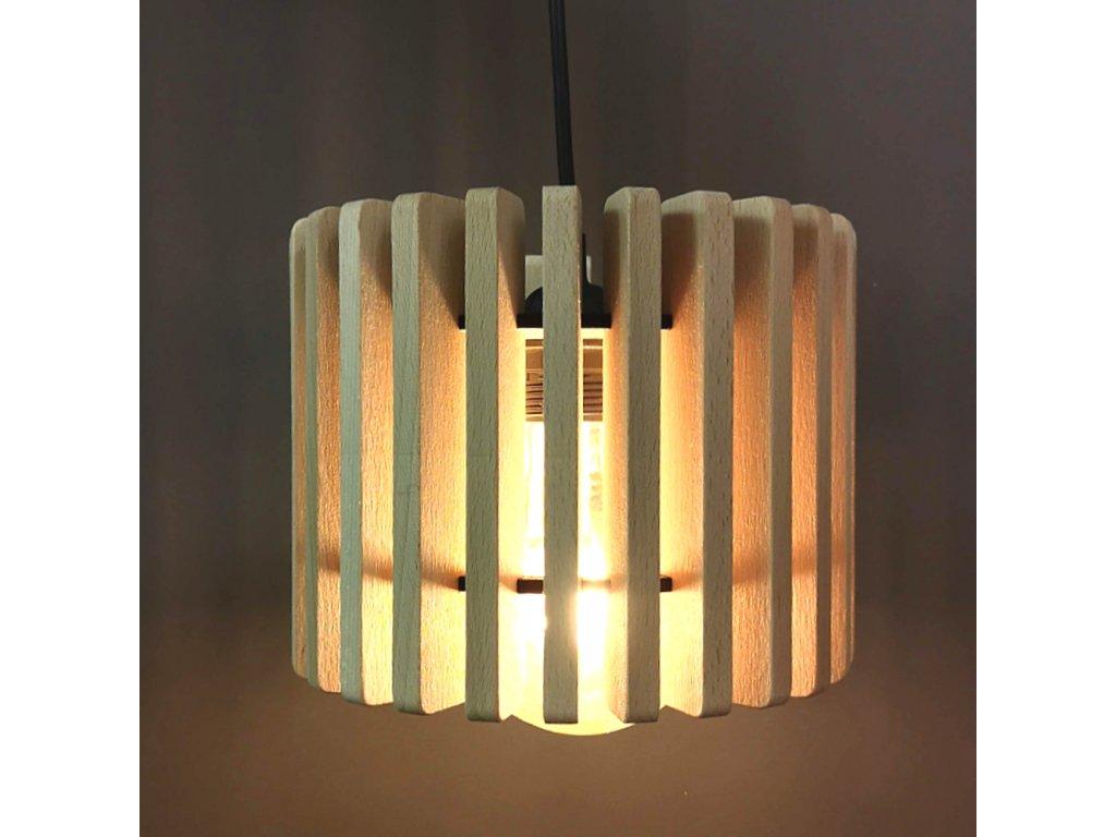 Dřevěná závěsná lampa válec 2, masivní dřevo, velikost 20 x 16 cm