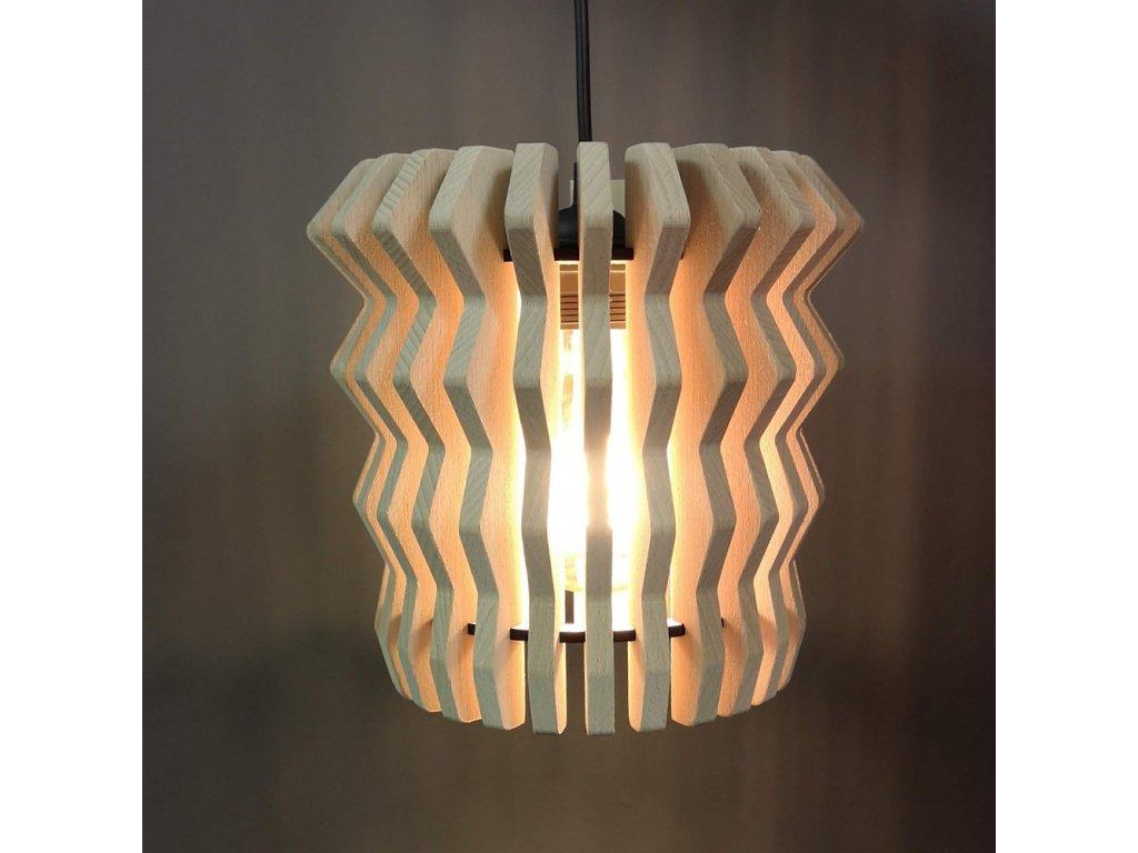 Dřevěná závěsná lampa harmonika 2, masivní dřevo, velikost 22 x 22 cm