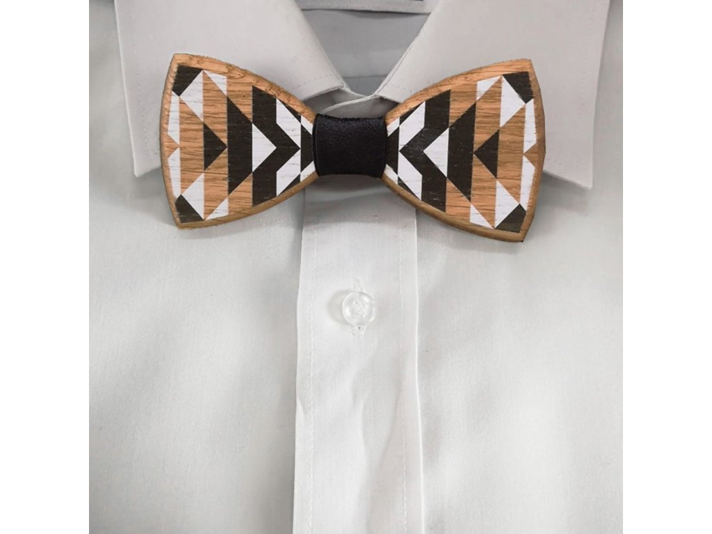 Dřevěný motýlek k obleku - černo bílý 11 cm
