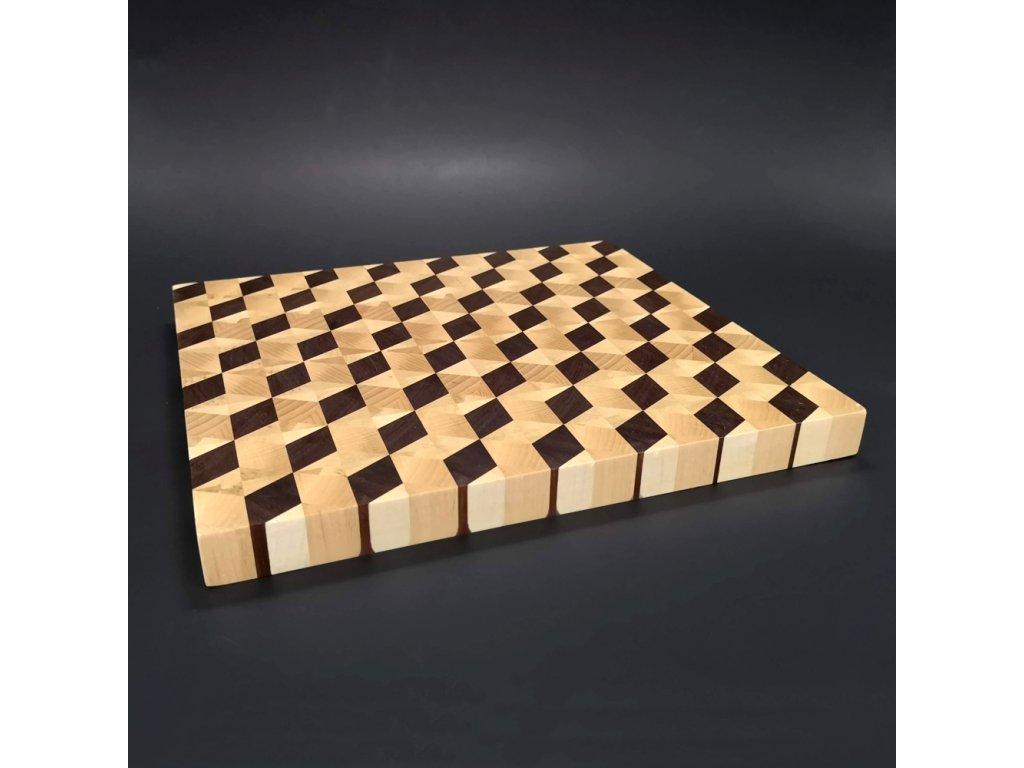 Dřevěné prkénko servírovací mozaika, masivní dřevo- spárovka ze 3 druhů dřevin, 29x27x2,5 cm