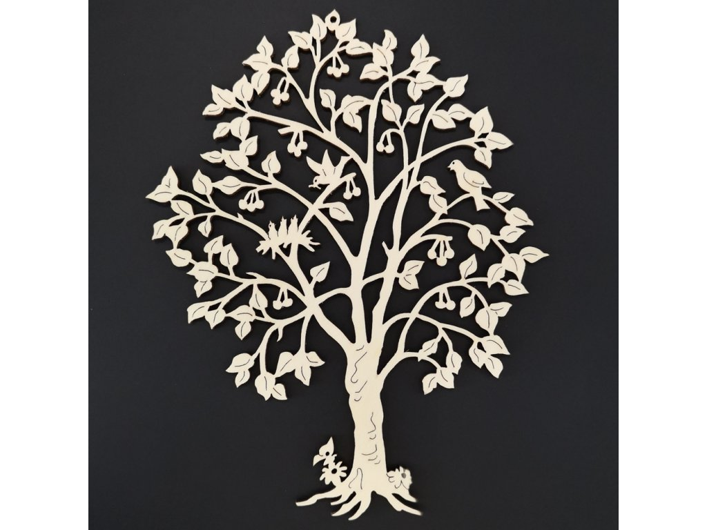 Dřevěný strom třešeň s ptáky, přírodní závěsná dekorace, výška 21 cm