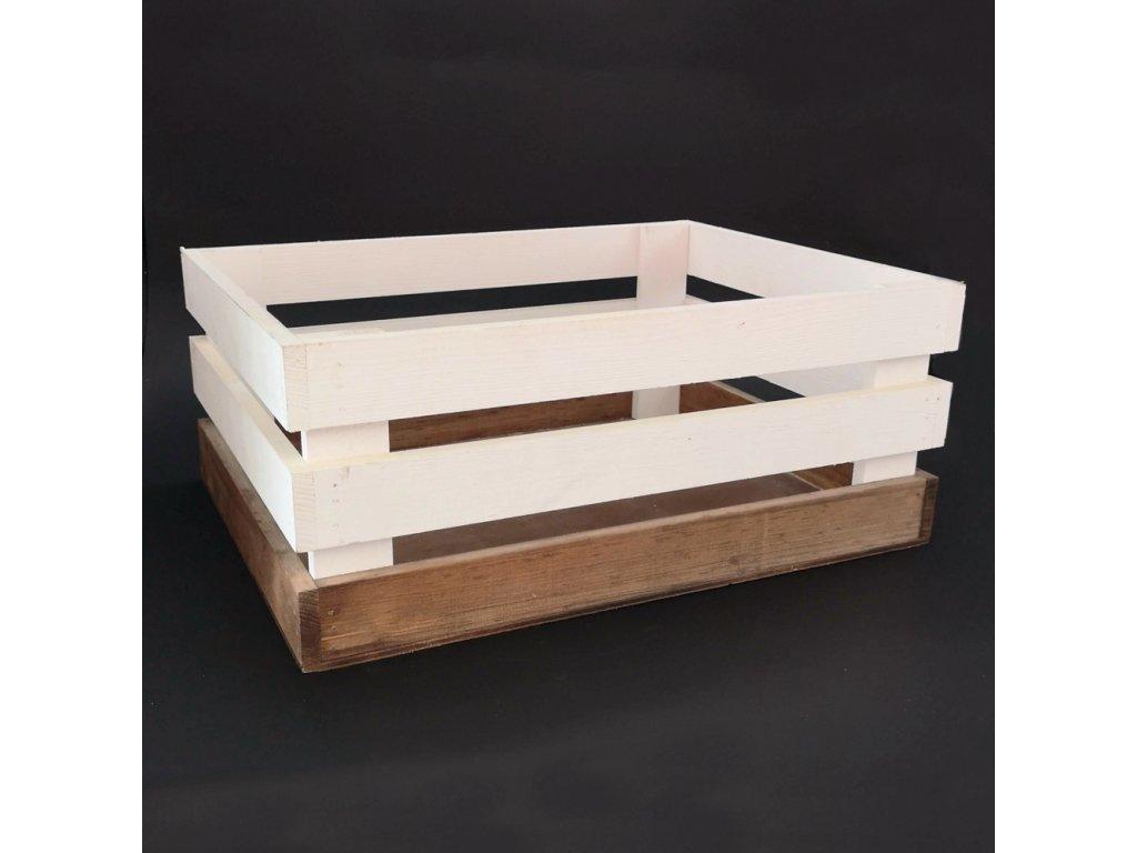 Dřevěná bedýnka z masivního dřeva dvoubarevná, 40x30x17 cm
