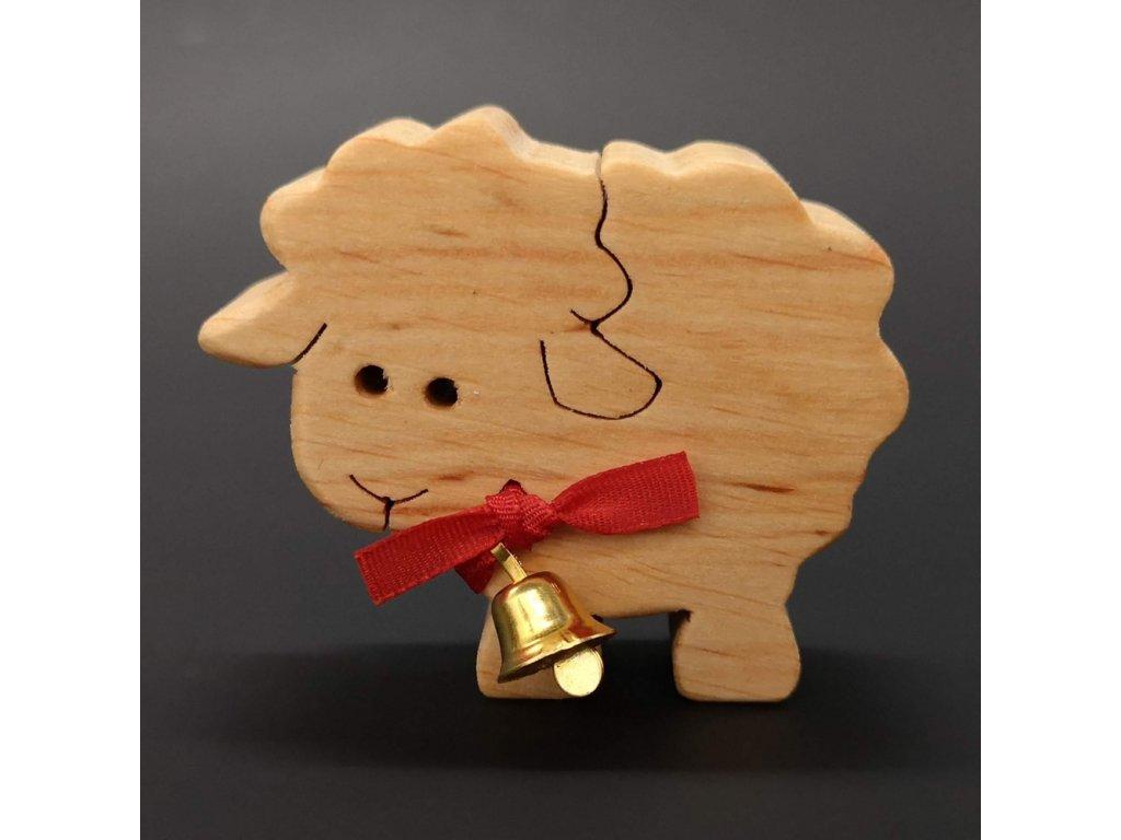 Dřevěná ovečka ze zvonkem, masivní dřevo, 6x5x2 cm