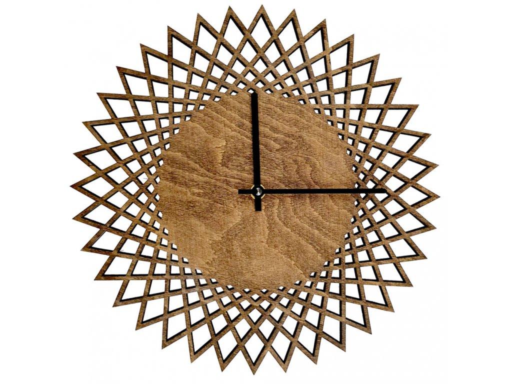 Dřevěné hodiny nástěnné ve tvaru slunce tmavé, masivní dřevo, průměr 30 cm