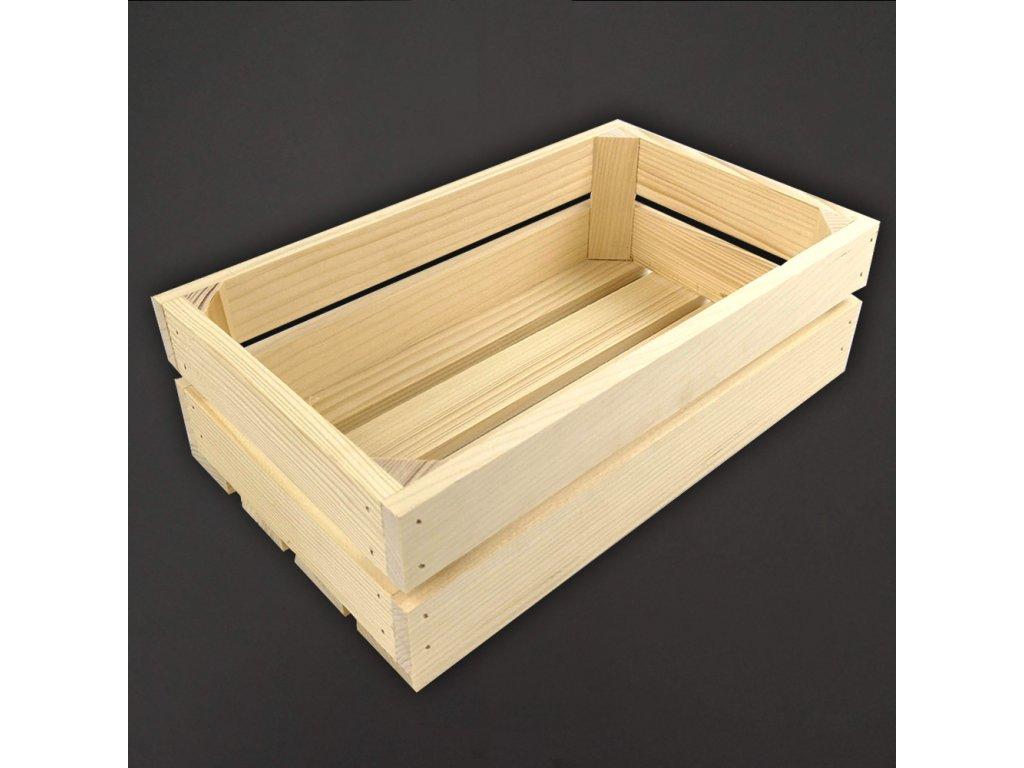 Dřevěná bedýnka z masivního dřeva, 32x19x10 cm