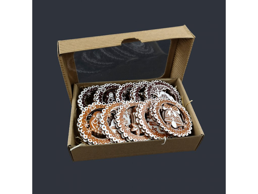 Dřevěné ozdoby - sada 20 ks dřevěných ozdob perníček velikost 6 cm