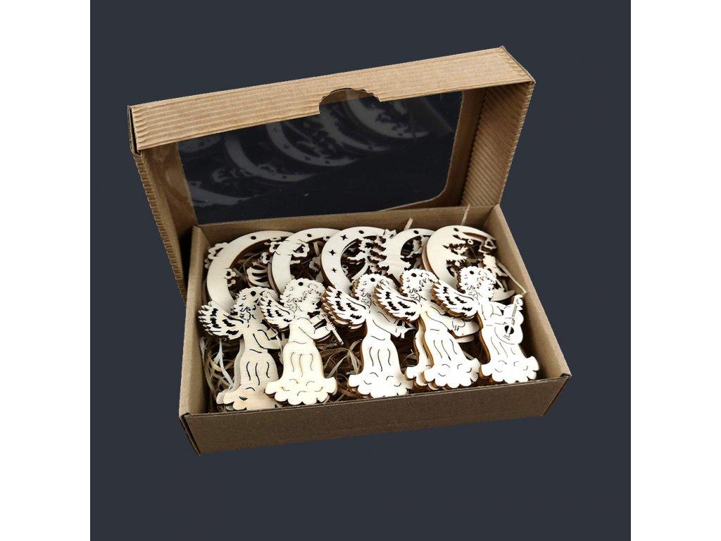 Dřevěné ozdoby - sada 20 ks dřevěných přírodních ozdob s motivem anděla velikost 6 cm