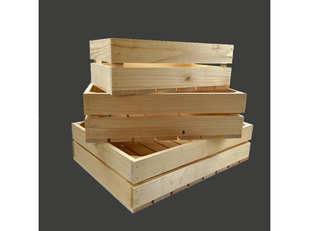 Dřevěné bedýnky - sada 3 bedýnek z masivního dřeva, 46x33x12 cm