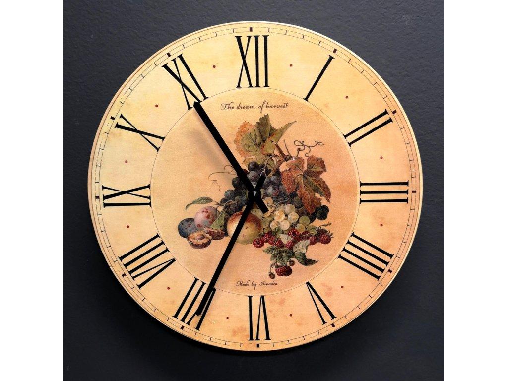 Dřevěné hodiny nástěnné kulaté s ovocem, masivní dřevo, průměr 25 cm