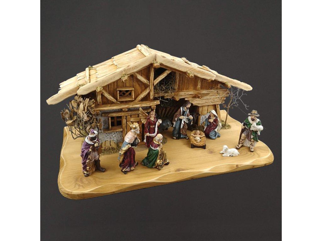 Dřevěný betlém s figurkami