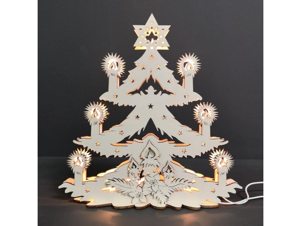 Vánoční svítící dřevěný strom LED