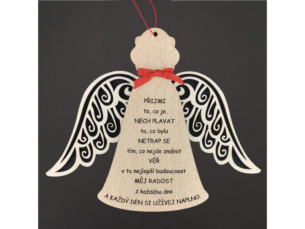 Dřevěný anděl s textem