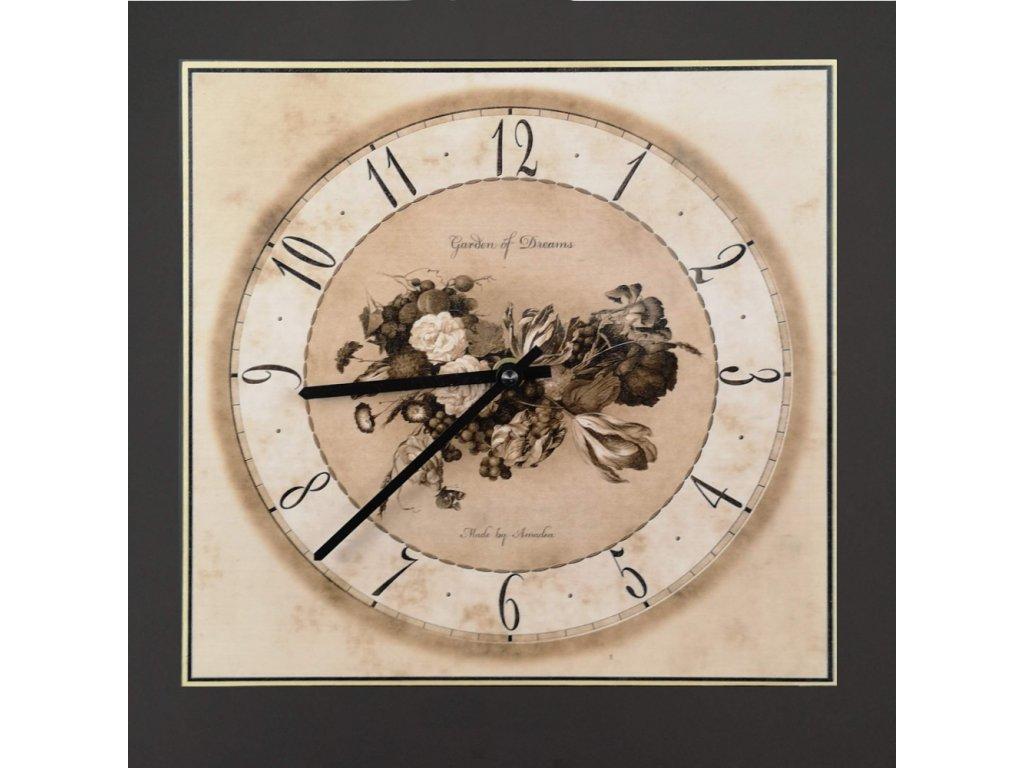 Dřevěné hodiny nástěnné hranaté s květy, barva sépie, masivní dřevo, 25x25 cm