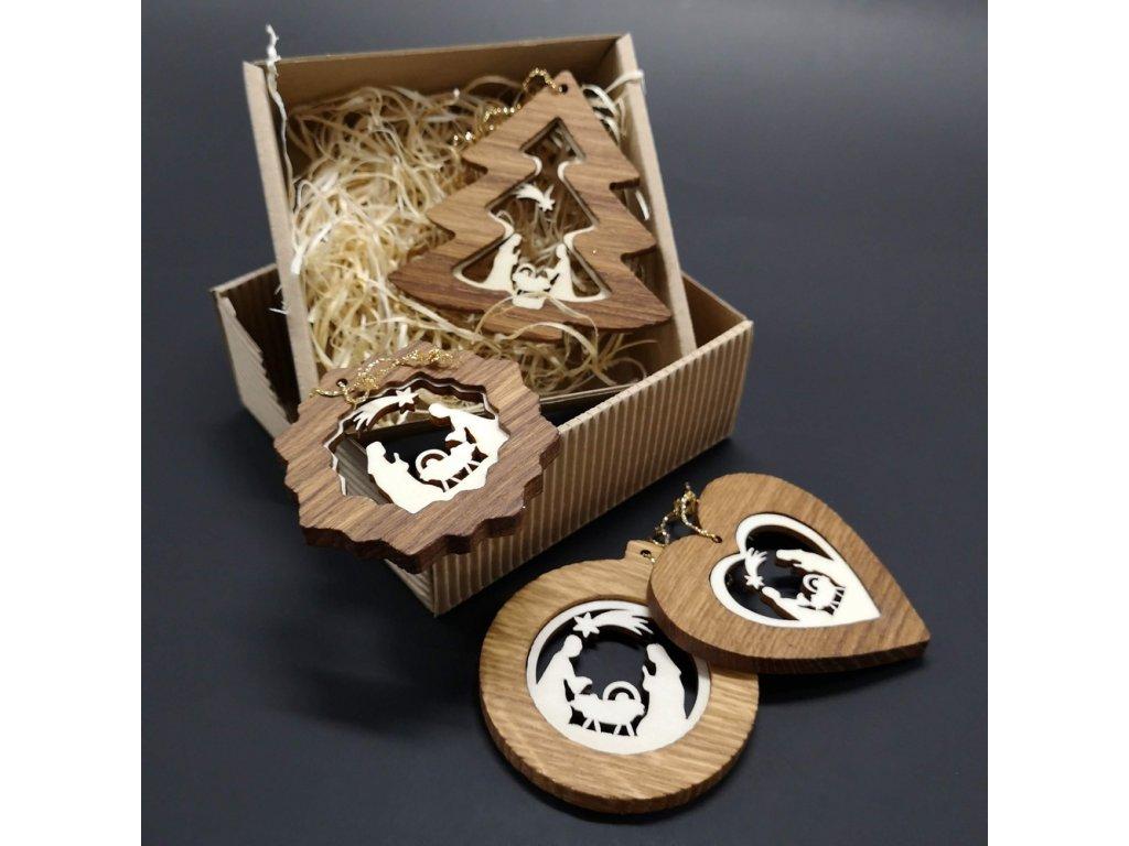 Vánoční set - dřevěných ozdob - vklad betlém - 4 druhy + krabička