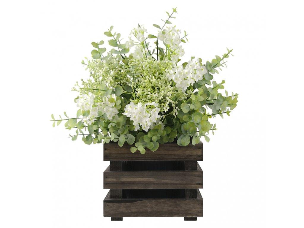 Dřevěný obal na květináč - tmavý, 17x17x15cm, dřevěný květináč Český výrobek