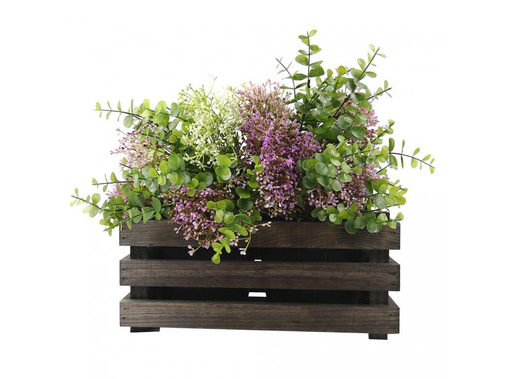 Dřevěný obal na dva květináče - tmavý, 32x17x15cm, dřevěný květináč Český výrobek
